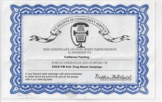 Anti-Drug Abuse Campaign Certificate