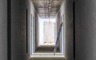 unpainted hallway