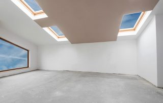 white room with skylights