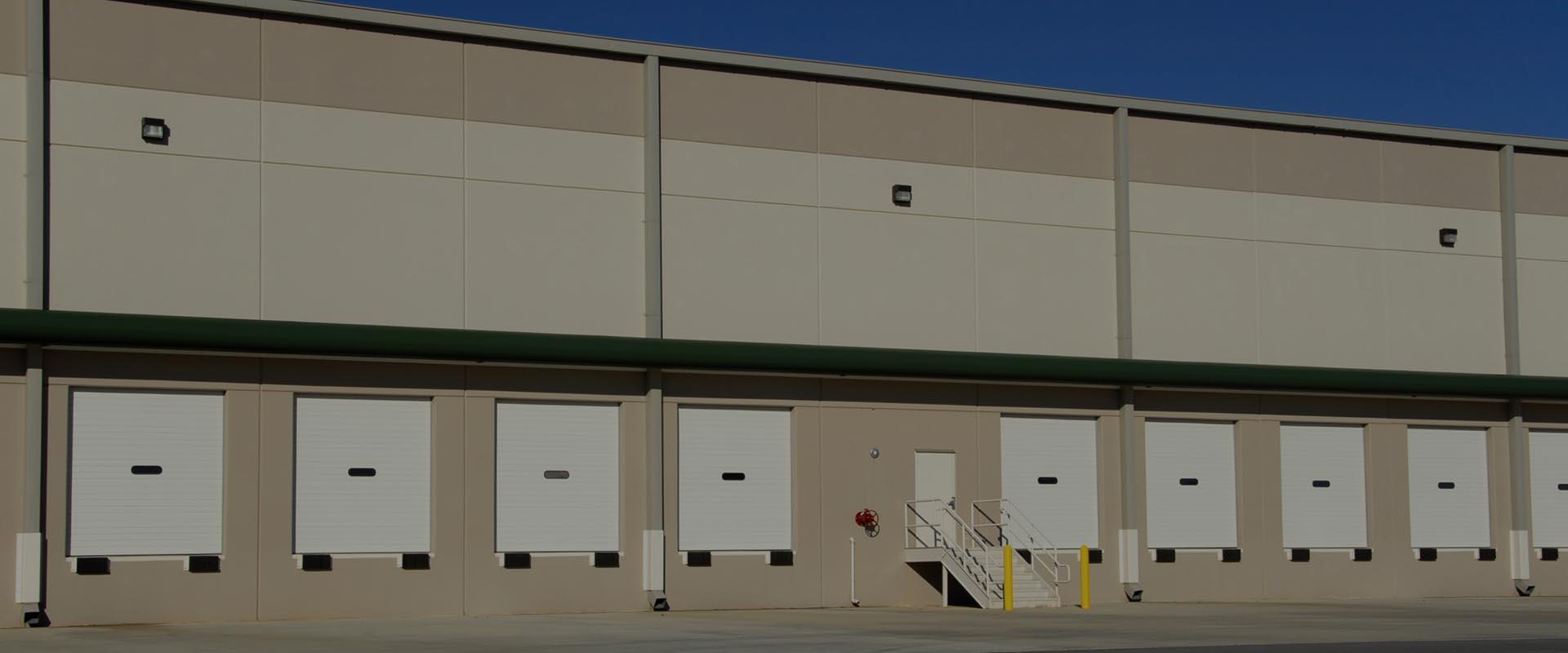 Tan loading area of building