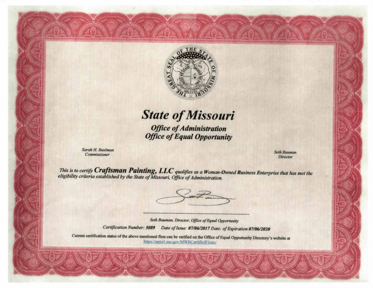 Woman Owned Business Certificate